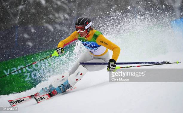 Maria Riesch of Germany competes during the Ladies Slalom second run on day 15 of the Vancouver 2010 Winter Olympics at Whistler Creekside on...