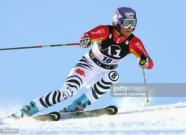 Maria Riesch of Germany competes in the Women's giant slalom event of the Woman's Alpine Skiing FIS World Cup at the Rettenbachgletscher on October...