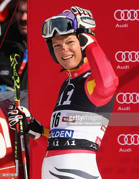 Maria Riesch of Germany looks on after the Women's giant slalom event of the Woman's Alpine Skiing FIS World Cup at the Rettenbachgletscher on...