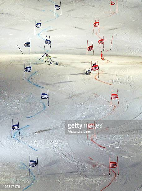 Maria Riesch of Germany misses to pass a gate during her roundofsixteen run against Daniela Merighetti of Italy during the Parallel Slalom of the FIS...