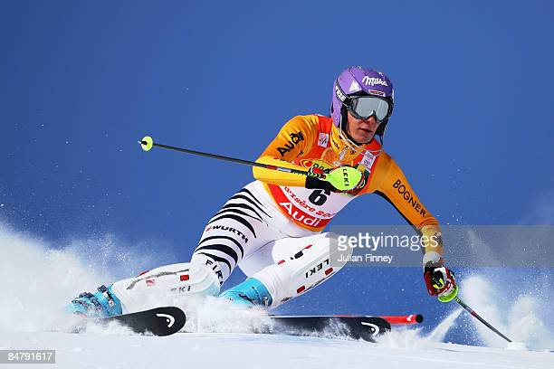 Maria Riesch of Germany skis during the Women's Slalom event held on the Face de Bellevarde course on February 14 2009 in Val d'Isere France