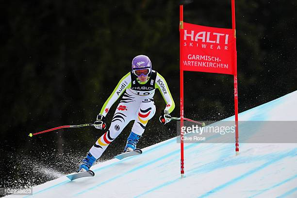 Maria Riesch of Germany skis in the Women's Super Combined Downhill during the Alpine FIS Ski World Championships on the Kandahar course on February...