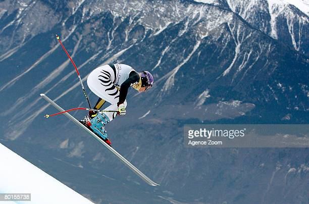 Maria Riesch of Germany takes 2nd place during the Alpine FIS Ski World Cup Women's Downhill Training on March 07, 2008 in Crans-Montana, Switzerland.