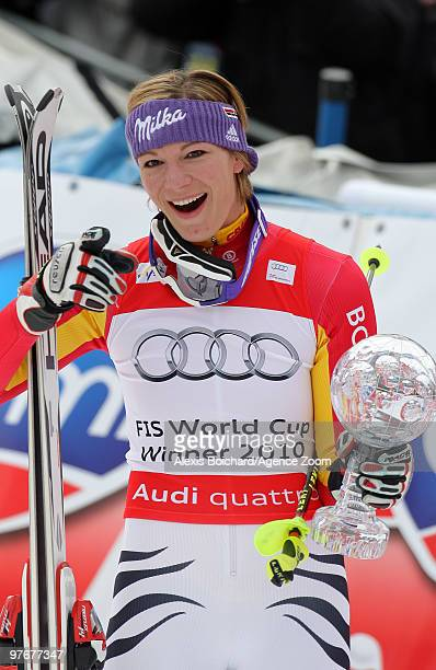 Maria Riesch of Germany takes the globe for the overall World Cup Slalom during the Audi FIS Alpine Ski World Cup Women's Slalom on March 13, 2010 in...