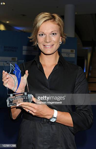 Maria Riesch receives the Bavarian Sport Award 2010 at the International Congress Center Munich on July 17 2010 in Munich Germany