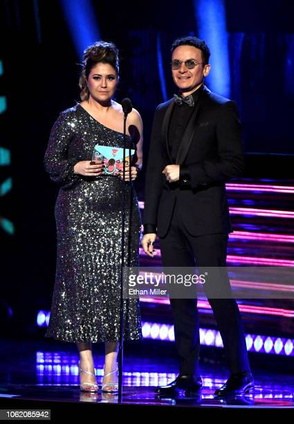 Maria Rita and Fonseca speak onstage during the 19th annual Latin GRAMMY Awards at MGM Grand Garden Arena on November 15 2018 in Las Vegas Nevada