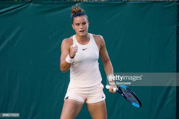 Maria Sakkari competes during the qualifying round of the 2018 Miami Open on March 20 at Tennis Center at Crandon Park in Key Biscayne FL