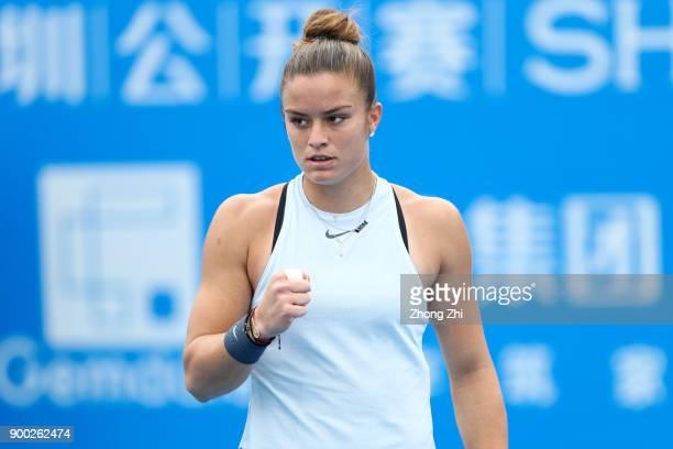 Maria Sakkari of Greece celebrates a shot during the match against Danka Kovinic of Montenegro during Day 2 of 2018 WTA Shenzhen Open at Longgang...
