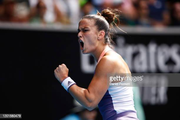 Maria Sakkari of Greece celebrates after winning a point during her Women's Singles third round match against Madison Keys of the United States on...