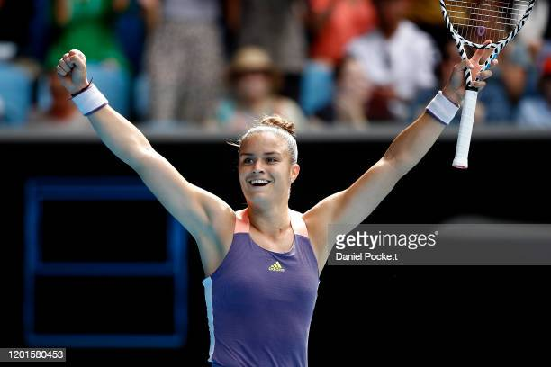 Maria Sakkari of Greece celebrates after winning match point during her Women's Singles third round match against Madison Keys of the United States...