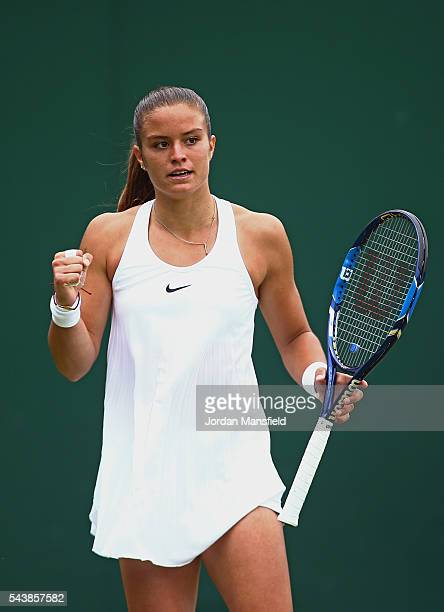 Maria Sakkari of Greece celebrates during the Ladies Singles second round match against Venus Williams of The United States on day four of the...