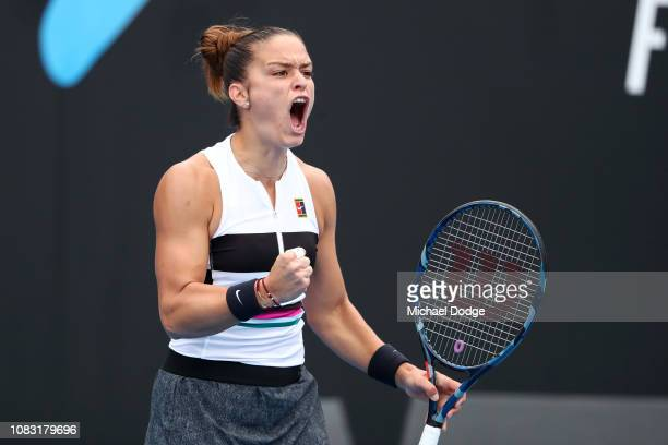 Maria Sakkari of Greece celebrates in her second round match against Astra Sharma of Australia during day three of the 2019 Australian Open at...