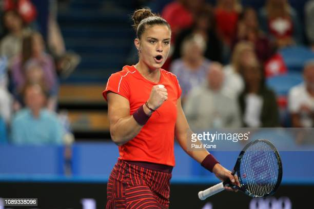 Maria Sakkari of Greece celebrates winning a game against Belinda Bencic of Switzerland during day six of the 2019 Hopman Cup at RAC Arena on January...