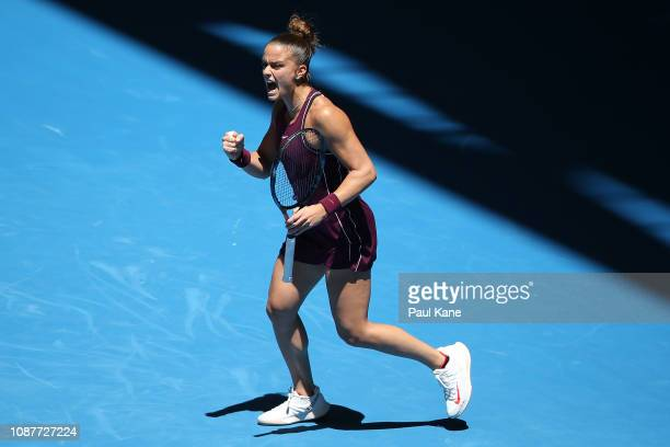Maria Sakkari of Greece celebrates winning her match against Katie Boulter of Great Britain during day one of the 2019 Hopman Cup at RAC Arena on...