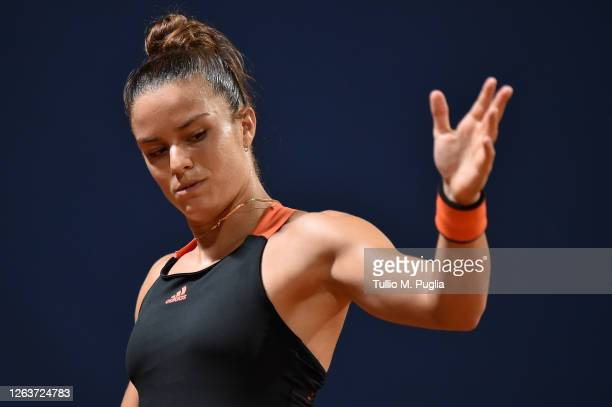 Maria Sakkari of Greece gestures during her match against Kristyna Pliskova of Czech Republic during the 31st Palermo Ladies Open - Day One on August...