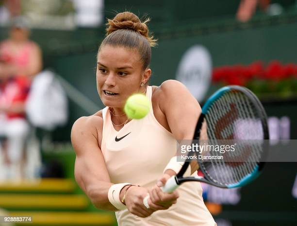 Maria Sakkari of Greece hits a backhand against Donna Vekic of Croatia during Day 3 of the BNP Paribas Open on March 7 2018 in Indian Wells California