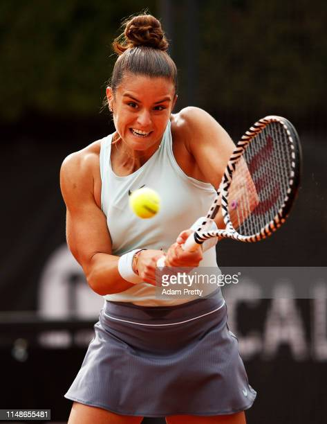 Maria Sakkari of Greece hits a backhand during her match against Andrea Petkovic of Germany during day 1 of the Internazionali BNL d'Italia at Foro...