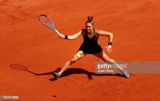 Maria Sakkari of Greece hits a forehand during her Ladies Singles Quarter-Final match against Iga Swiatek of Poland on Day Eleven of the 2021 French...