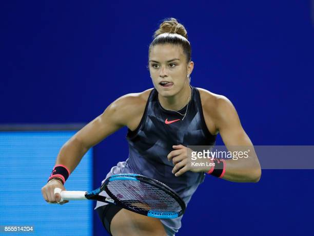 Maria Sakkari of Greece in action against Caroline Garcia of France in their SemiFinal match of Women's Single at 2017 Wuhan Open on September 29...