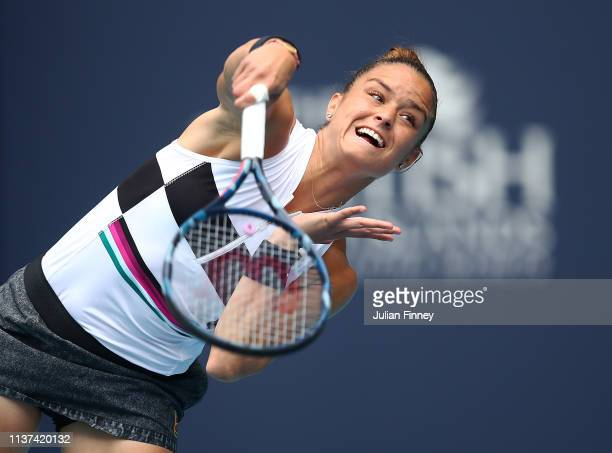 Maria Sakkari of Greece in action against Petra Kvitova of Czech Republic during day four of the Miami Open tennis on March 21 2019 in Miami Gardens...