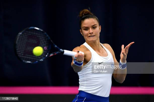 Maria Sakkari of Greece in action during her Europe/Africa Group A match against Johanna Konta of Great Britain on Day Two of the Fed Cup 2019 at...