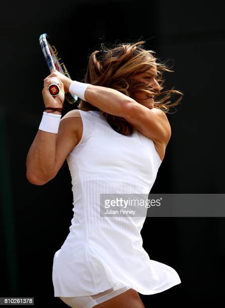 Maria Sakkari of Greece plays a backhand during the Ladies Singles third round match against Johanna Konta of Great Britain on day five of the...