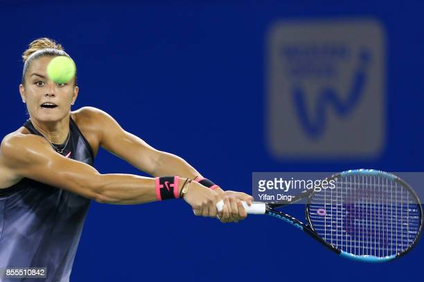 Maria Sakkari of Greece plays a backhand during the Ladies Singles semi final match between Maria Sakkari of Greece and Caroline Garcia of France on...