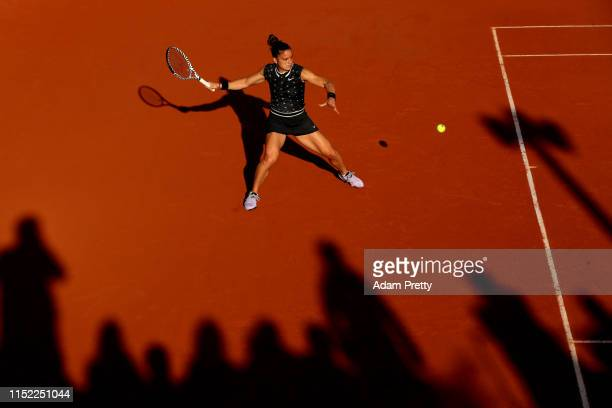 Maria Sakkari of Greece plays a forehand during her ladies singles first round match against Anna Tatishvili of The United States during Day three of...