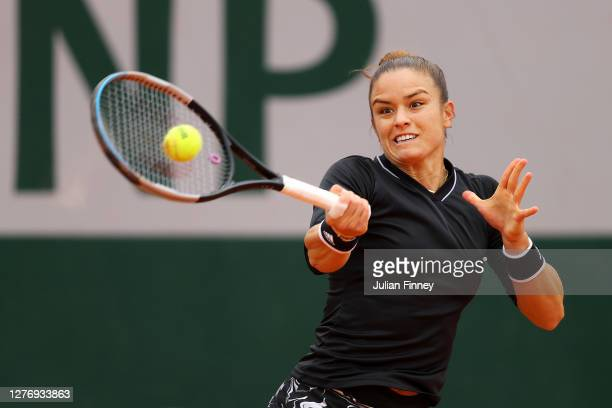 Maria Sakkari of Greece plays a forehand during her Women's Singles first round match against Ajla Tomljanovic of Australia during day one of the...