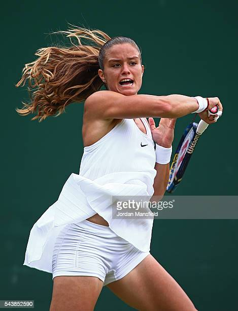 Maria Sakkari of Greece plays a forehand during the Ladies Singles second round match against Venus Williams of The United States on day four of the...