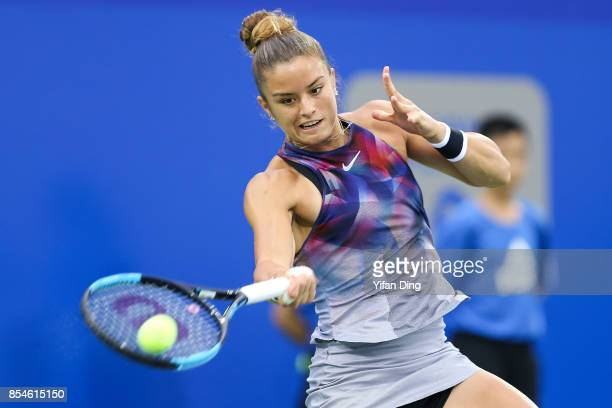 Maria Sakkari of Greece plays a forehand during the third round Ladies Singles match against Elena Vesnina of Russia on Day 4 of 2017 Dongfeng Motor...