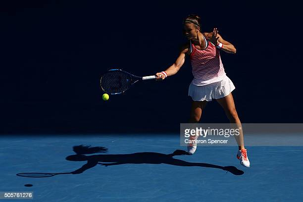 Maria Sakkari of Greece plays a forehand in her second round match against Caria Suarez Navarro of Spain during day three of the 2016 Australian Open...