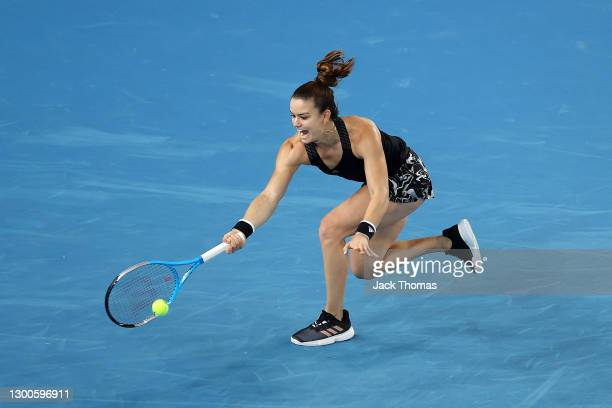 Maria Sakkari of Greece plays a forehand in her Women's Singles quarterfinals match against Angelique Kerber of Germany during day four of the WTA...