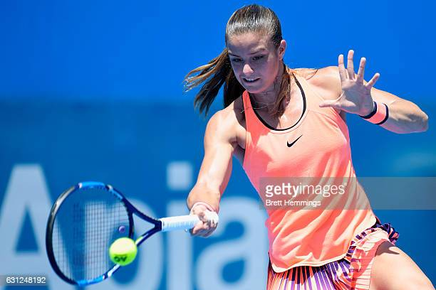 Maria Sakkari of Greece plays a forehand shot in her first round match against Roberta Vinci of Italy during day two of the 2017 Sydney International...
