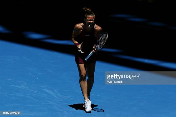 Maria Sakkari of Greece reacts after dropping a point in the womens singles match against Katie Boulter of Great Britain during day one of the 2019...