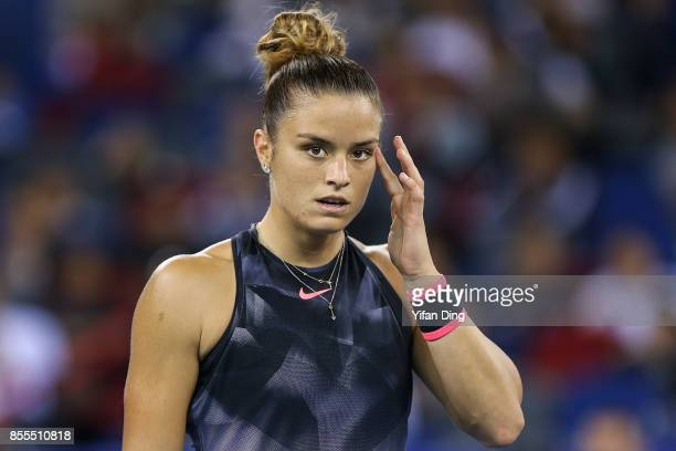 Maria Sakkari of Greece reacts after losing a point during the Ladies Singles semi final match between Maria Sakkari of Greece and Caroline Garcia of...