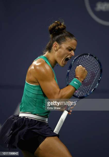 Maria Sakkari of Greece reacts after winning a point in her match against Danielle Collins of the United States during their semifinal match on Day 6...