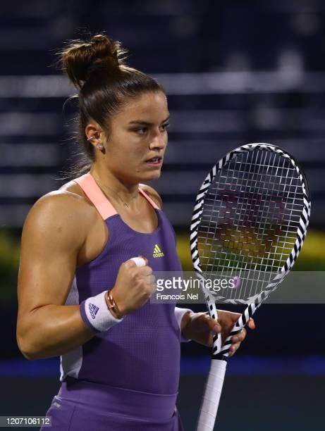 Maria Sakkari of Greece reacts against Aryna Sabalenka of Bulgaria during Day Two of the Dubai Duty Free Tennis at Dubai Duty Free Tennis Stadium on...