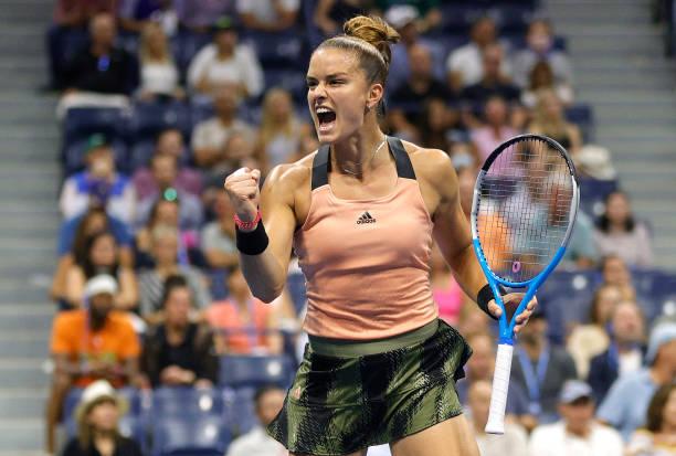 Maria Sakkari of Greece reacts against Karolina Pliskova of Czech Republic during her Women's Singles quarterfinal match on Day Ten of the 2021 US...