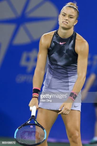 Maria Sakkari of Greece reacts during the Ladies Singles semi final match against Caroline Garcia of France on Day 6 of 2017 Dongfeng Motor Wuhan...