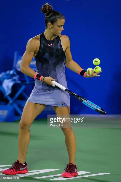Maria Sakkari of Greece reacts during the match against Caroline Wozniacki of Denmark on Day 3 of 2017 Dongfeng Motor Wuhan Open at Optics Valley...