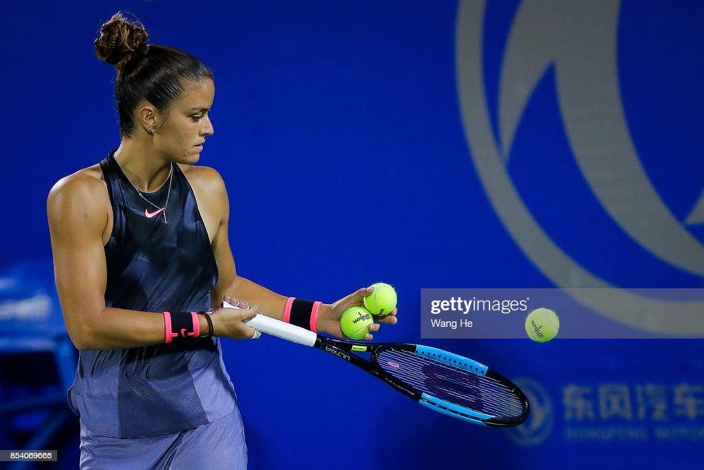 Maria Sakkari of Greece reacts during the match against Caroline Wozniacki of Denmark on Day 3 of 2017 Dongfeng Motor Wuhan Open at Optics Valley International Tennis Center on September 26, 2017 in Wuhan, China.