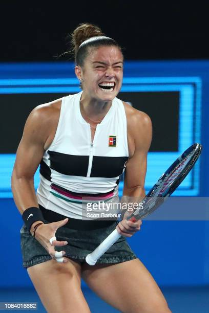 Maria Sakkari of Greece reacts in her third round match against Ashleigh Barty of Australia during day five of the 2019 Australian Open at Melbourne...