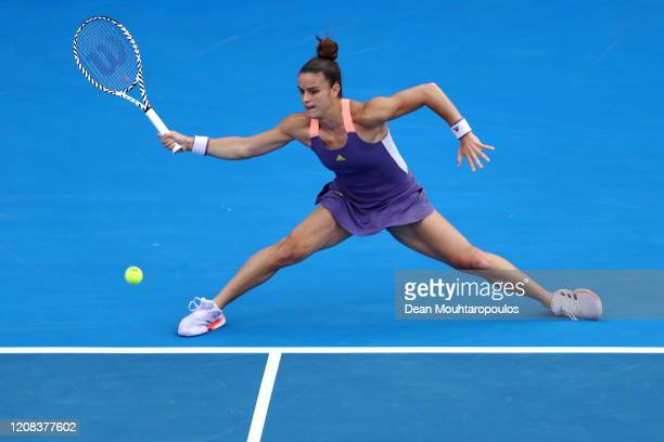 Maria Sakkari of Greece returns a forehand against Julia Goerges of Germany during Day 2 of the WTA Qatar Total Open 2020 at Khalifa International...