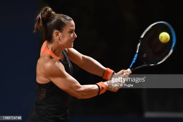 Maria Sakkari of Greece returns a shot against Kristyna Pliskova of Czech Republic during the 31st Palermo Ladies Open - Day One on August 03, 2020...