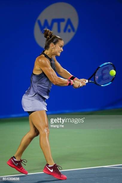 Maria Sakkari of Greece returns a shot during the match against Caroline Wozniacki of Denmark on Day 3 of 2017 Dongfeng Motor Wuhan Open at Optics...