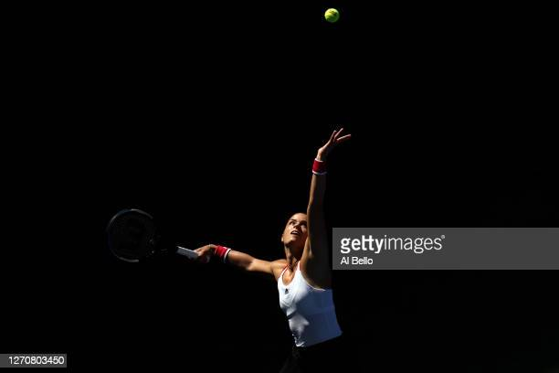 Maria Sakkari of Greece serves during her Women's Singles third round match against Amanda Anisimova of the United States on Day Six of the 2020 US...