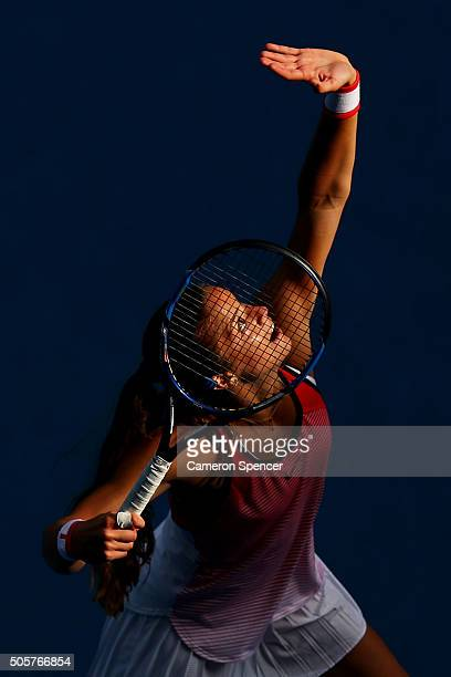 Maria Sakkari of Greece serves in her second round match against Caria Suarez Navarro of Spain during day three of the 2016 Australian Open at...