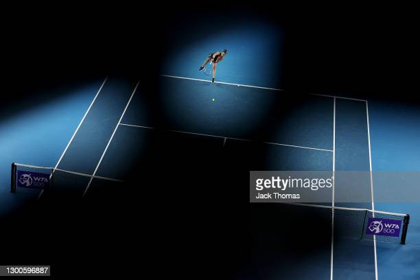 Maria Sakkari of Greece serves in her Women's Singles quarterfinals match against Angelique Kerber of Germany during day four of the WTA 500...