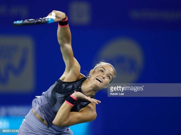 Maria Sakkari of Greece serves to Caroline Garcia of France in their SemiFinal match of Women's Single at 2017 Wuhan Open on September 29 2017 in...